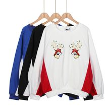 Momewear - Embroidery Deer Panel Pullover