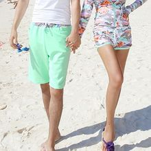 Tamtam Beach - Contrast-Trim Couple Beach Shorts
