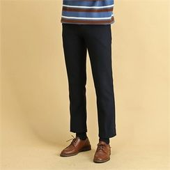 THE COVER - Flat-Front Textured Dress Pants