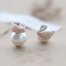 Love Generation - Swan Sterling Silver Pearl Earrings