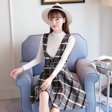 Ashlee - Set: Mock Neck Long-Sleeve Knit Top + Check V-Neck Pinafore Dress