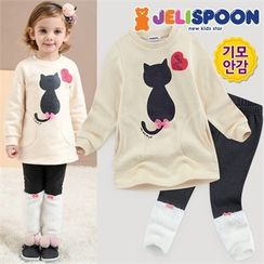 JELISPOON - Girls Set: Printed Sweatshirt + Fleece-Trim Leggings