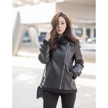 GUMZZI - Faux-Leather Fleeced-Line Jacket