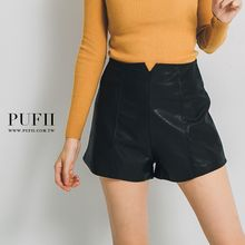 PUFII - Faux-Leather Pleated Shorts