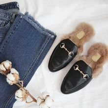 STYLEBYYAM - Faux Fur-Lined Buckled Mules