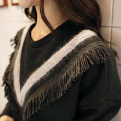 CLICK - Brushed-Fleece Fringed Pullover