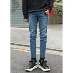 GERIO - Fray-Hem Straight-Cut Jeans