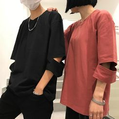 Real Boy - Boxy Slit-Sleeve T-Shirt