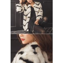 migunstyle - Round-Neck Faux-Fur Jacket