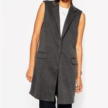 Richcoco - Sleeveless Long Blazer