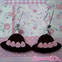 Sweet & Co. - Sweet Pink Swarovski Crystal Strawberry Choco Hat Dangle Earrings