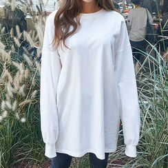 chuu - Drop-Shoulder Long Cotton Pullover