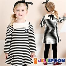 JELISPOON - Girls Pleated-Hem Striped Cotton Dress