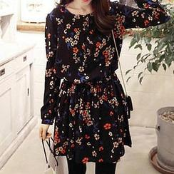 Dowisi - Long-Sleeved Floral Print A-Line Dress