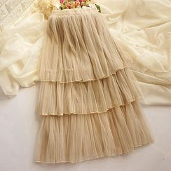 Cobblestone - Layered Tulle Midi Skirt