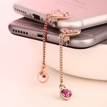 MILESI - Rhinestone Heart Mobile Earphone Plug