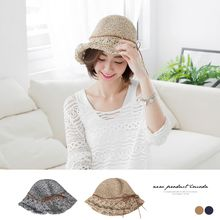 OrangeBear - Suede Roll Straw Floppy Hat
