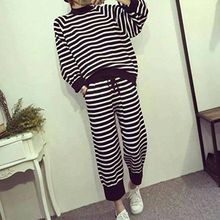 Zzang Girls - Set: Striped Zip-Side Sweater + Harem Pants