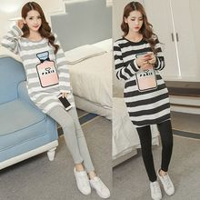Soswift - Maternity Set: Long-Sleeve Striped Dress + Plain Leggings