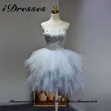 idresses - Feather Panel Embellished Tulle Prom Dress