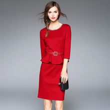 Y:Q - Mock Two-piece 3/4-Sleeve Peplum Dress