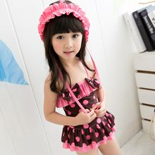 Charmaine - Kids Printed Swim Dress / Bikini With Swim Cap