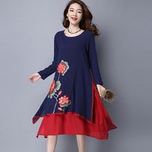 Diosa - Flower Embroidered Layered Long Sleeve Dress