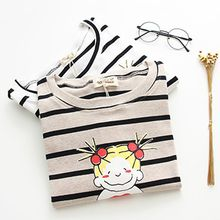 Angel Love - Cartoon Print Striped Long Sleeve T-Shirt