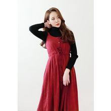 Dalkong - Drawstring A-Line Long Pinafore Dress