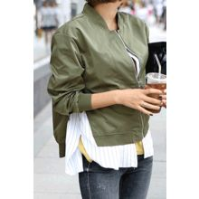 migunstyle - Inset Striped Shirt Flight Jacket