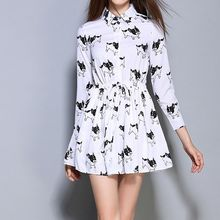 Merald - Dog Print 3/4 Sleeve Drawstring Shirt Dress