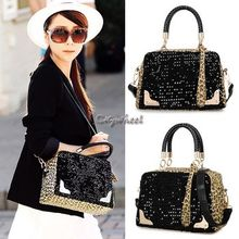 BAGSHOW - Leopard Panel Sequined Handbag