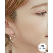 Miss21 Korea - Silver Bar Hoop-Dangle Earrings