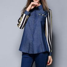 Merald - Pinstriped Panel Denim Blouse