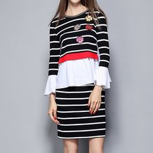 Merald - Set: Stripe Embroidered Frilled Top + Skirt
