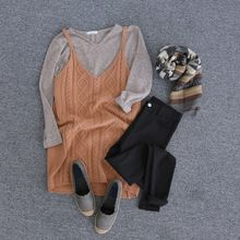 JUSTONE - Spaghetti-Strap Wool Cable-Knit Mini Dress