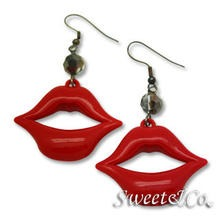 Sweet & Co. - Sexy Lips with Chic Black Crystal Dangle Earrings
