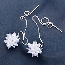 A'ROCH - 925 Sterling Silver Flower Thread Through Drop Earrings