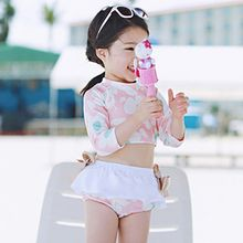 Sweet Splash - Kids Set: Floral Print Cropped Rashguard + Swim Skirt