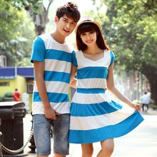 NoonSun - Couple Matching Striped Short Sleeve T-Shirt / Short Sleeve Dress