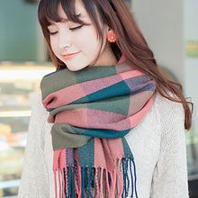 Sakana - Plaid Fringed Scarf