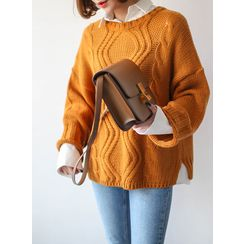 STYLEBYYAM - Round-Neck Cable-Knit Top