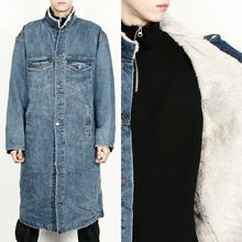 Rememberclick - Fleece-Lined Washed Denim Long Jacket