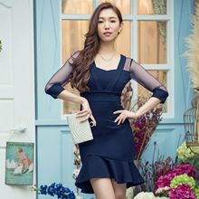 Holiday Lady - 3/4-Sleeve Sheer Panel Sheath Dress