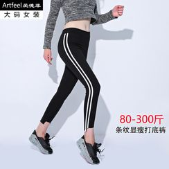 Artfeel - Striped Trim Leggings