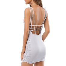 LIVA GIRL - Open Back Strappy Ruched Minidress