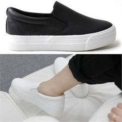 Reneve - Genuine-Leather Platform Slip-Ons