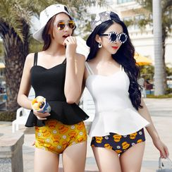 LANYI - Couple Matching Duck Print Swim Shorts/ Tankini