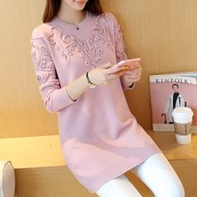 Ageha - Long-Sleeve Patterned Knit Dress