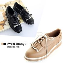 SWEET MANGO - Contrast-Fringed Platform Oxfords